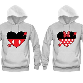 Hearts Cartoon Theme Very Cute Unisex Couple Matching Hoodies