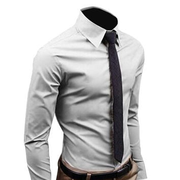 Men Shirt Long Sleeve 2016 Fashion Men's Sim Fit  Dress Shirts Cotton Solid Color Business Camisas Masculina RD464 for male