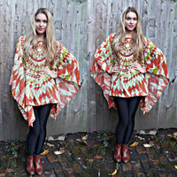 vintage 90s TRIBAL HIPPIE KAFTAN top,boho,festival chic/hippie blouse