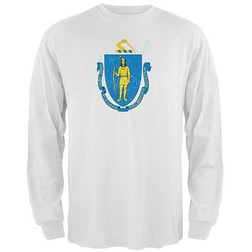 Born and Raised Massachusetts State Flag Mens Long Sleeve T Shirt