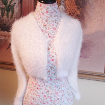 Wedding Bolero Kate Middleton Sweater Super Fluffy Angora look knit v-neck No Buttons LONG Sleeve Crop Bridal Bolero, Made to order