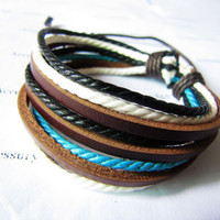 Real 3PCS Leathers and Cotton Ropes Woven Cuff by braceletcool
