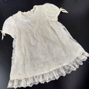 Vintage Gunne Sax Dress / Toddler Size Jessica McClintock Girl's Ivory Lace Easter Dress Fancy Photo Party