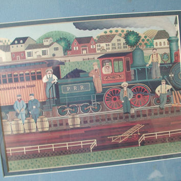 vintage Pennsylvania Railroad folk art print, Ruth Brunner Strosser train art print framed boys bedroom decor