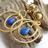 Dangle Clip on Earrings, Gemstone Earrings, Lapis Lazuli Earrings, Blue Earrings, Gold Hoop Earrings, Handcrafted Jewelry, Gift for Mom