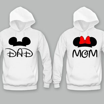 MOM and DAD Cartoon Theme Unisex Couple Matching Hoodies Funny and Music