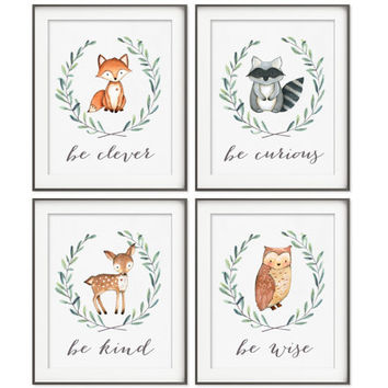 Woodland Nursery Decor | Fox Deer Raccoon Owl | Woodland Animals | Woodland Creatures | Be Brave Be Kind Be Curious Be Wise | Set of 4