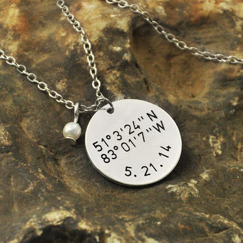 alloy  necklace  Latitude Longitude jewelry coordinates necklace - with date date  and birthstone girlfriendgift valentinenecklace