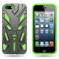 CoverON® Robocase Hybrid Dual Layer Case for Apple iPhone 5 5s - Sculptor Gray Hard Neon Green Soft Silicone