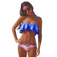 Swimsuit Woman Swim Bikini Set Swimming Suit Bandeau Tankini Top Swimwear Removable Straps Padded Beach Bathing Suit Royal Blue