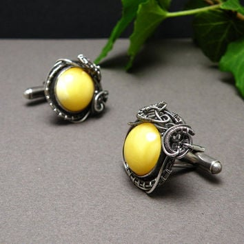 Silver wire wrapped cufflinks yellow amber by MadeBySunflower