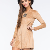 Bailey Blue Suede Swing Dress Camel  In Sizes