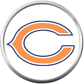 Chicago Bears NFL Logo On White Football Lovers Team Spirit 18MM - 20MM Snap Jewelry Charm