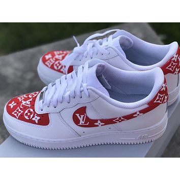 "Air Force 1 ""Supreme L V"" (with front and back tab) Customs red"