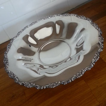 Antique Oneida Du Maurier pattern large serving dish, silverplate rose dish, silver serving, wedding gift
