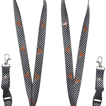 "NCAA Texas Longhorns Fashion Lanyard (2-Pack), Polka Dot, 24"" x .88"""
