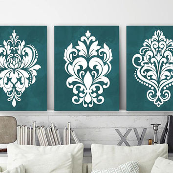 TEAL Damask Bedroom Wall Art, Teal CANVAS or Print, Teal Damask Design Artwork, Teal Bathroom Wall Decor, Set of 3, Teal Home Decor Pictures