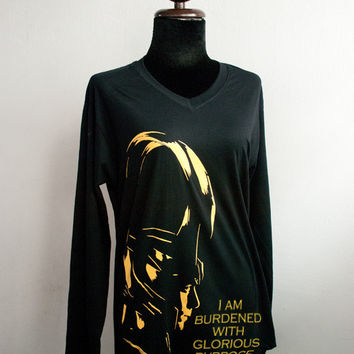 Loki : silhouette and I am burdened with glorious purpose T-shirt long sleeve