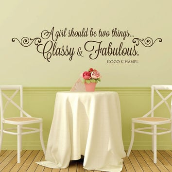Wall Decals - Coco Chanel - Coco Chanel Quotes - A girl should be two things classy and fabulous - Stickers - Wall Decor - Decals