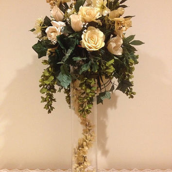White roses- artifical cream colored  roses- greenery-Tall wedding flower centerpieces