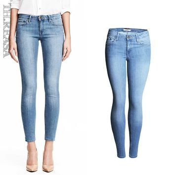 Rinsed Denim High Waist Slim Pencil Pants Jeans [11597533711]