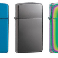 Zippo Lighter Set - Slim Black Ice, Slim Sapphire Blue, and Slim Spectrum Pack of Three