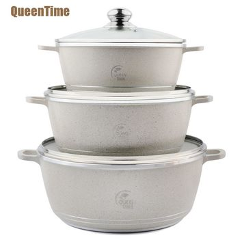 "QueenTime Aluminum Thermal Cooker 9.5""+11""+12.5"" Soup&Stock Pots Home Use Saucepan With Lid Professtional Kitchen Cookware New"