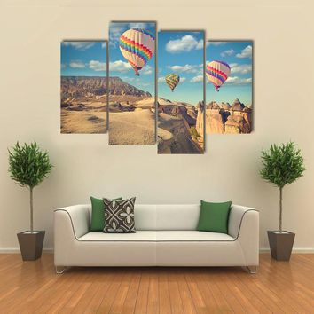 Vintage Photo Of Hot Air Balloon Flying Multi Panel Canvas Wall Art