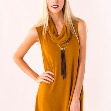 Throw In The Cowl Sweater Dress in Mustard