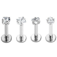 SHINEstyle 4x 16g Surgical Gem Steel Tragus Lip Ring Monroe Ear Cartilage Stud Earring Body Piercing