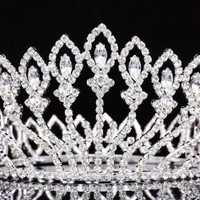 Pageant Beauty Contest Bridal Wedding Full Crown - Silver Plated Clear Crystals T937