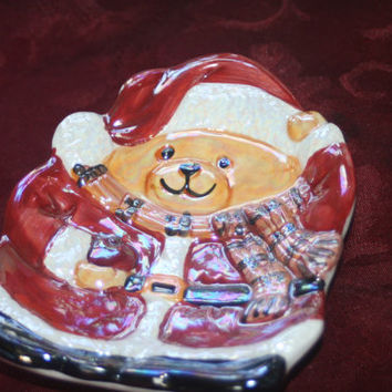 Christmas Teddy Bear Tray,Vintage Porcelain Holiday Decor