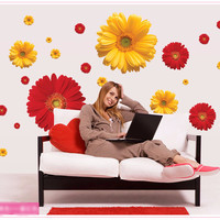 Daisy Flower Living Room Vinyl 3D Wall Stickers