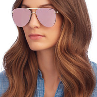 Le Specs The Prince Pink Rose Mirrored Lense Aviator Sunglasses - INTERMIX