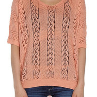 Women's Peach Knit Pull Over Sweater