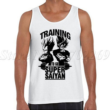 Super Saiyan Men tank tops fashion o-neck The Dragon Ball Z Black printed Vest hipster funny cool singlets