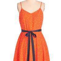 Nautical Mid-length Spaghetti Straps A-line Epic Sail Dress in Tangerine