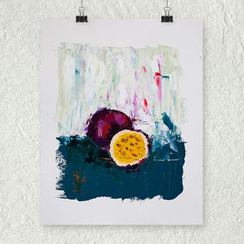 Passion Fruit Painting, Purple and Blue Art, Fruit Art, Food Painting, Contemporary Art, Original Oil Painting, Kitchen Art, Still Life Art