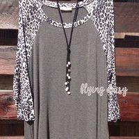 Plus Size Gray Long Sleeve Leopard Raglan Top