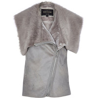 River Island Womens Grey sleeveless leather-look faux fur vest