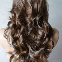 Valentine's Special :))    Brown mixed with ash blonde and honey brown wig. Long curly wig. Human hair likely synthetic wig.