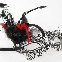 LASER CUT VENETIAN MASK masquerade costume Black Feathers Crystals Fancy Metal