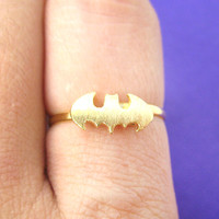 Batman Logo Bat Shaped Symbol Silhouette Adjustable Ring in Gold