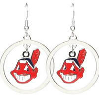MLB Cleveland Indians Floating Logo Hoop Earrings