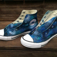 Galaxy Stars Converse Toms Vans Hand Painted Shoes