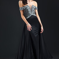Rachel Allan 5824 Dress Off-The-Shoulder Notched Bodice Panel Train