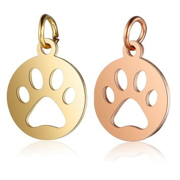 2Pcs/lot 7x12mm Stainless Steel Dog Paw Charms Pendants Gold Rose Gold Color Animal Floating Charm For DIY Jewelry Making