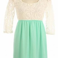Mint Dress with Three-Quarter Sleeve Floral Lace Top