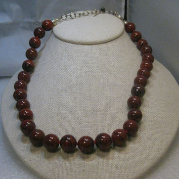 "Retired Whitney Kelly Sterling Silver 12mm Red Jasper Beaded Necklace 16"" plus 3"" extender Chain, Heavy Nautilus Type Spring Clasp"