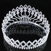 WEDDING FULL CROWN CLEAR AUSTRIAN RHINESTONE CRYSTAL TIARA PAGEANT PROM LG 01406
